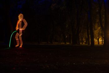 image of person peeing at night